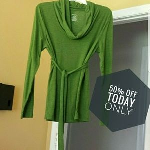 Tops - Green cowl neck long sleeve shirt w/matching belt